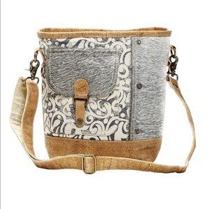 Canvas, leather & hairon flap pocket shoulder bag